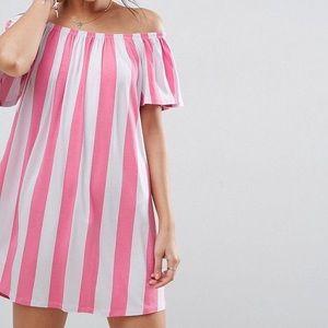ASOS Off Shoulder Sundress In Deckchair Stripe